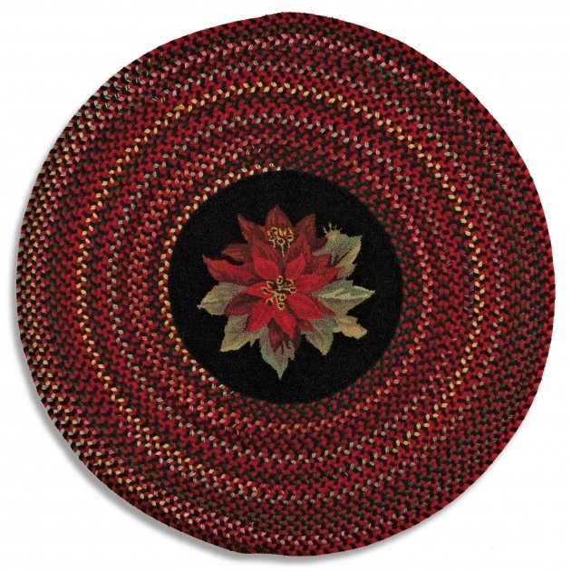 Poinsettia Round Cheap Braided Rugs Company Wool Made In Usa Images 42