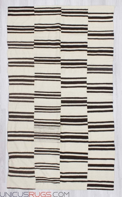 U0465d Handwoven Vintage Black And White Striped Runner Rug Photo 08