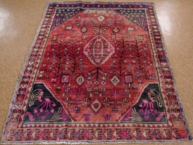 5 X 7 Purple Persian Rug Luri Tribal Hand Knotted Wool Pink Red Image 39