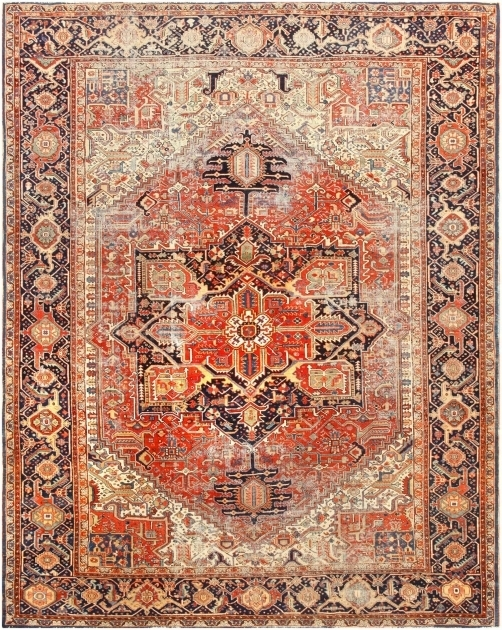 Antique Distressed Persian Rug Heriz Rugs Photo 95