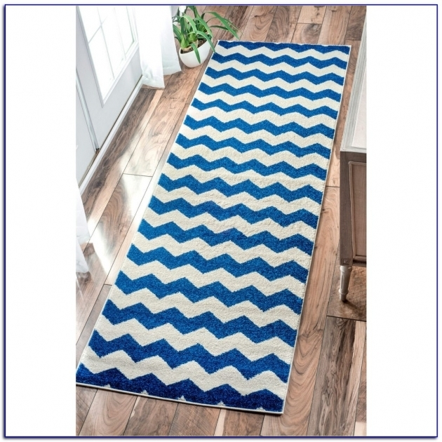 Blue Chevron Runner Rug Image 79