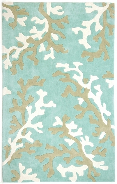 Coral Turquoise Blue White Fusion Coastal Runner Rugs Photos 91