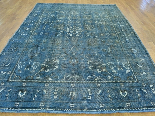 Denim Blue Overdyed Persian Rugs Tabriz Worn Down Handmade Images 64