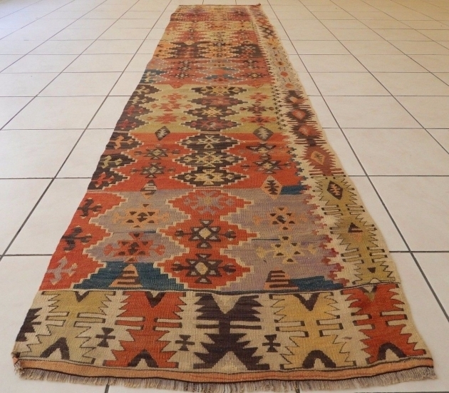 Extra Long Runner Rug  Faded Pale Runner Vintage Wove Kilim Rug Entryway Picture 73
