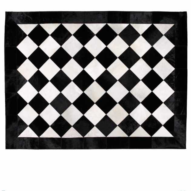 Geometric Large Black And White Rug Image 59