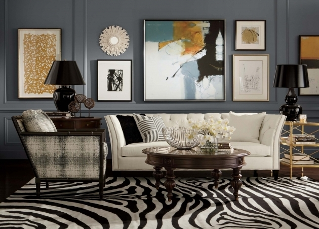 Large Black And White Rug Apartment Living Room Design Featuring White Upholstered Couch Ideas Pictures 95