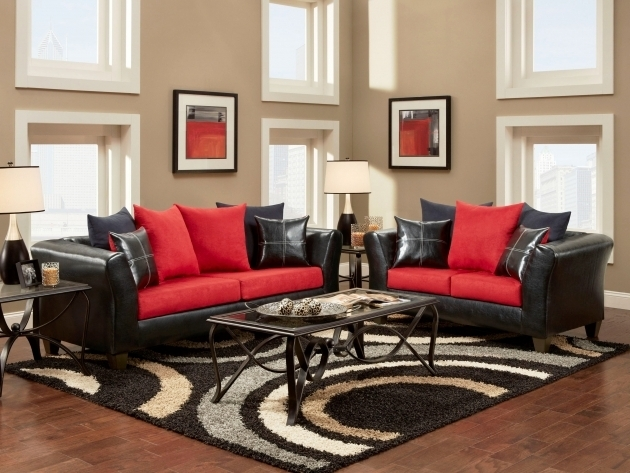 Large Black And White Rug With Red Sofa Photo 71