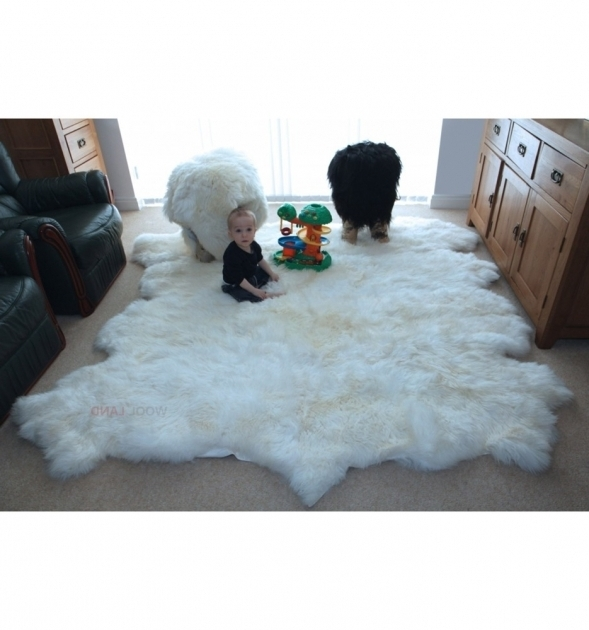 Large Faux Sheepskin Rug Minimalist Living Room White Images 66