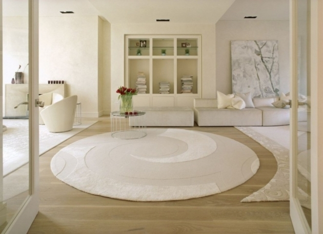 Luxury White Large Round Area Rugs Applied On The Wooden Floor Photos 58