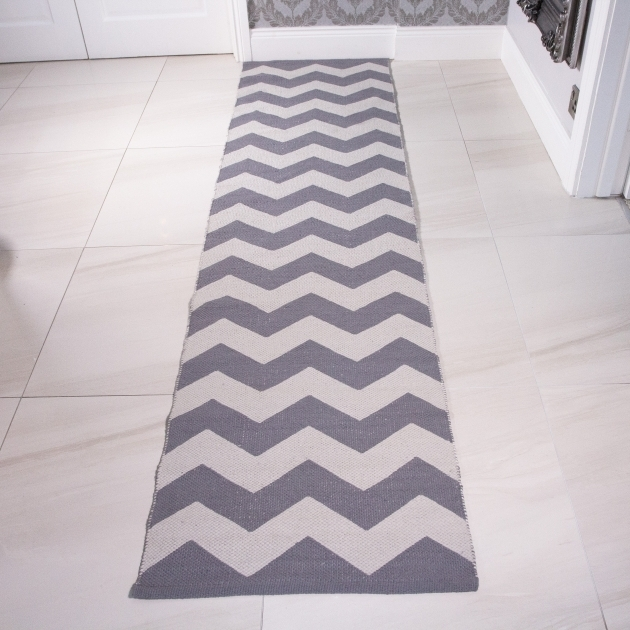 Modern Chevron Runner Rug Cotton Grey Cream Pictures 87