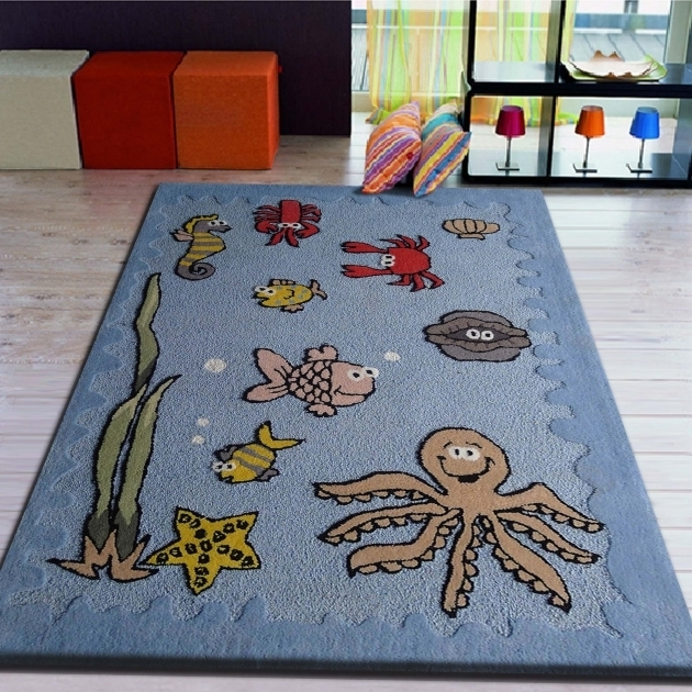 Modern Large Blue Area Rugs Sea World Rug For Kids Bedroom Pictures 59