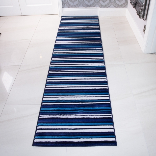 Modern Teal Rug Runner Blue And White Sardinia Striped Hallway Runner Rug Photo 13