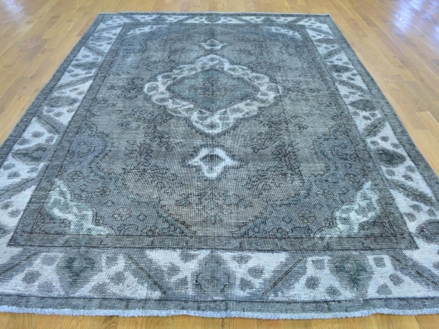 Overdyed Persian Rugs Hand Knotted Grey Tabriz Image 02