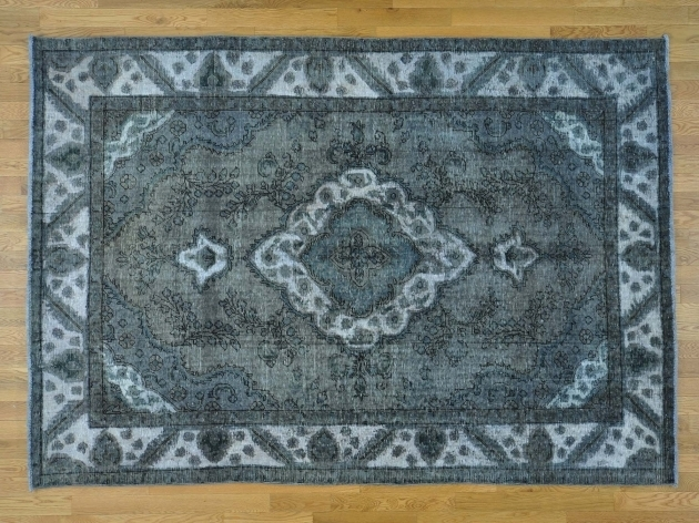 Overdyed Persian Rugs Hand Knotted Grey Tabriz Image 27