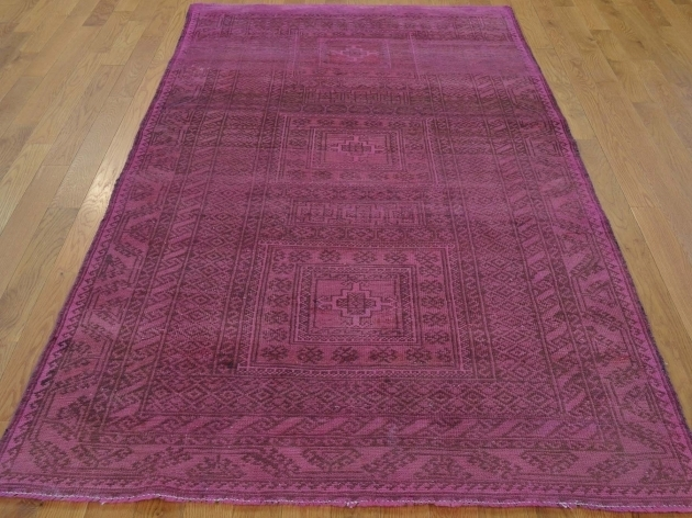 Purple Persian Rug Overdyed Pink Persian Worn Baluch Handmade Oriental Rug Pictures 40