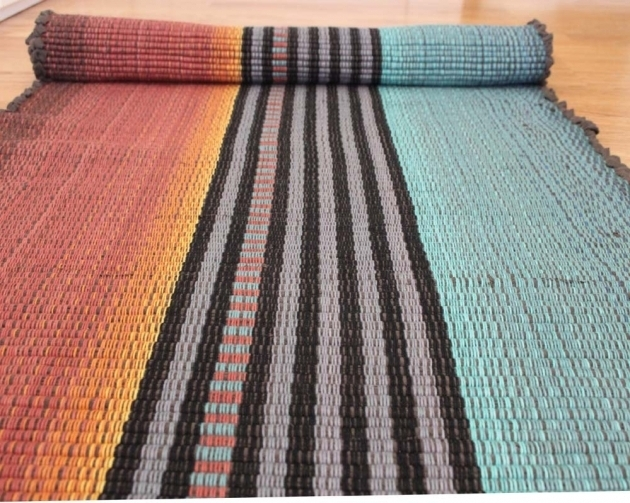 Teal Rug Runner Cotton Rag Rug Runners Picture 68