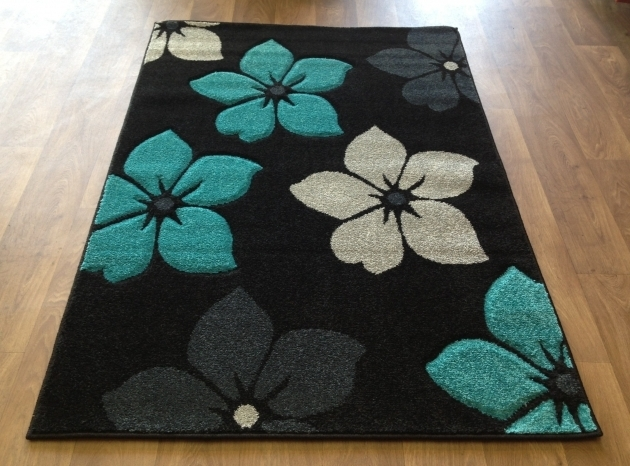 Teal Rug Runner Modern Floral Flower Black Blue Silver Grey Small Pictures 07