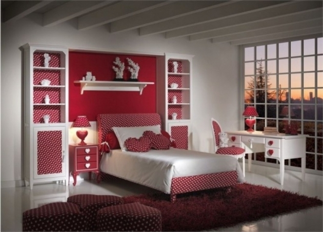 Beautiful Large Red Area Rug For Teenage Bedroom Ideas With Red White Dots Bed Frame Pictures 91