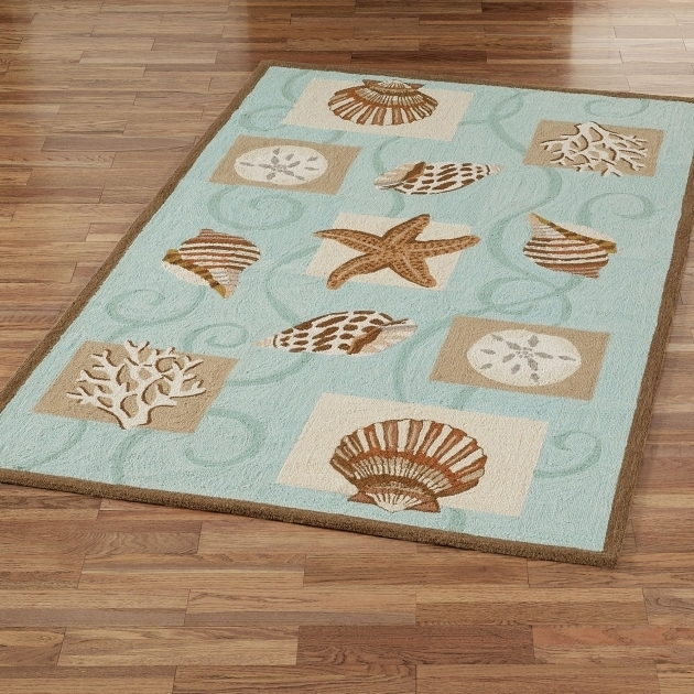 Coastal Kitchen Rugs Sea Shell Hooked Wool Runner Rugs Photo 20