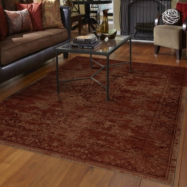 Faded Damask Traditional Large Red Area Rug Photos 58