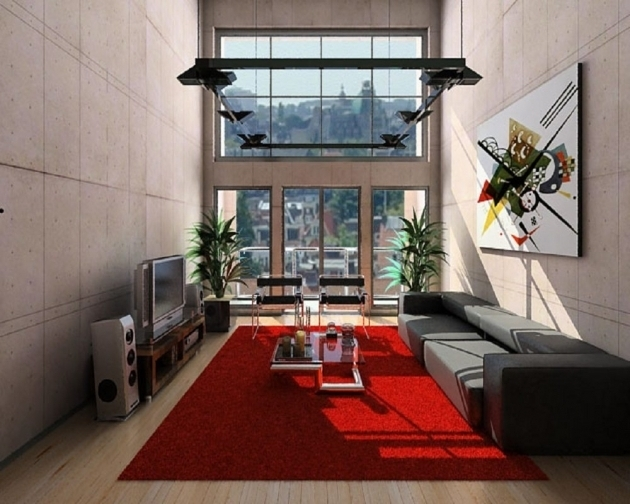 Large Red Area Rug With High Ceiling White Living Room Pictures 62