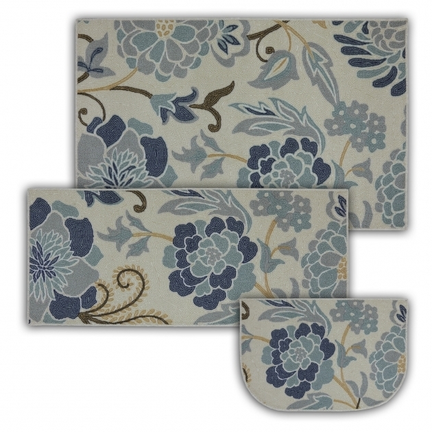 Mohawk  New Wave 3 Piece Kitchen Rug Set Power Flower Sky Blue Printed Rug Sets Photo 28
