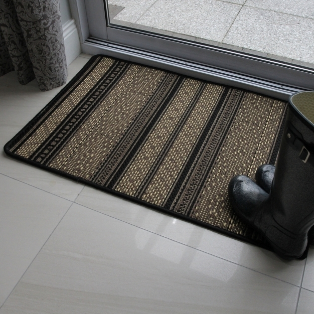 Natural Beige Black Thin Flat Weave Cheap Runner Rugs Modern Photo 48
