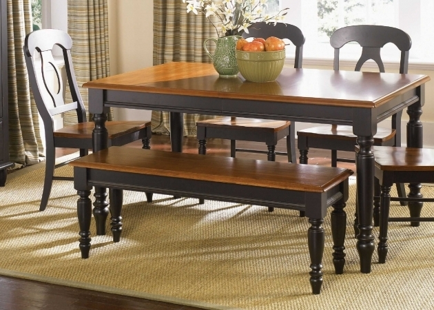 Rug Size For Kitchen Table With Black Stained Wooden Dining Table With Brown Top Pictures 07
