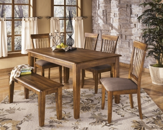 Shabby Chic Flower Pattern Rugs Under Kitchen Table Rustic Varnished Teak Wood Dining Table Set Picture 97