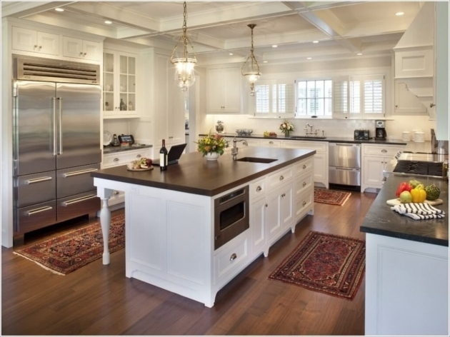 Simple Kitchen Area Rugs For Hardwood Floors With Large Stainless Refrigerator Image 05