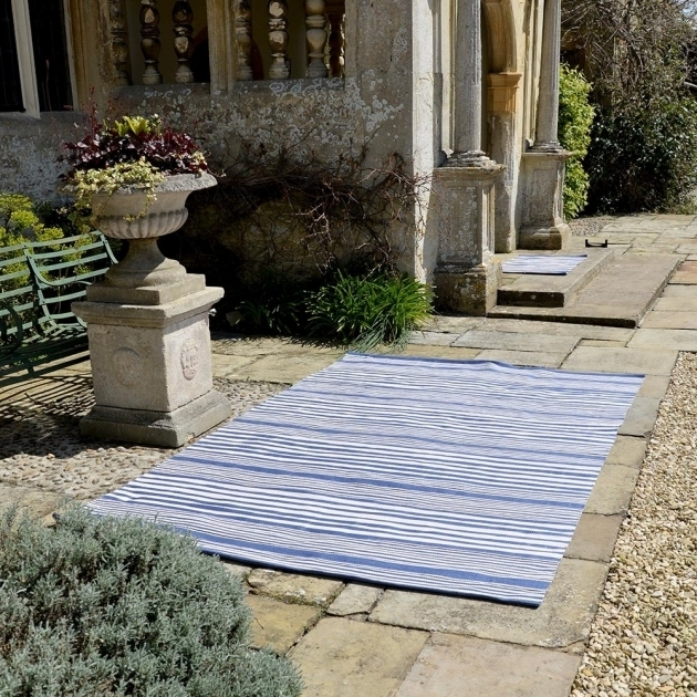 Stripe Denim Blue Extra Large Outdoor Rugs Picture 25