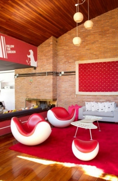 Unique Large Red Area Rug Living Room Helmet Shaped Chair Design And Unique Pendant Lamp Photo 57
