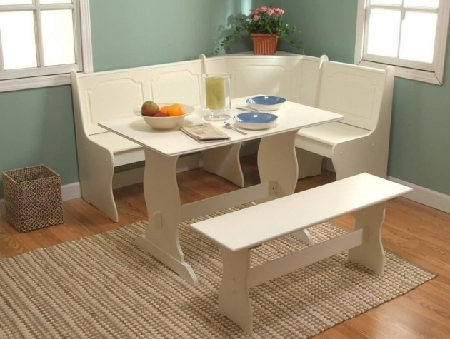 White Corner Kitchen Nook Table And Chair Ideas With Rugs Under Kitchen Table Images 66