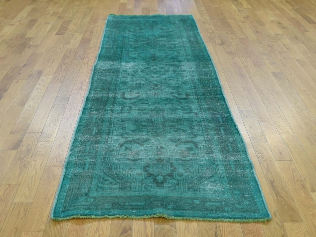 "2'9""x9'4"" Hand-Knotted Teal Runner Rug Overdyed Tabriz Pure Wool Worn picture 52"