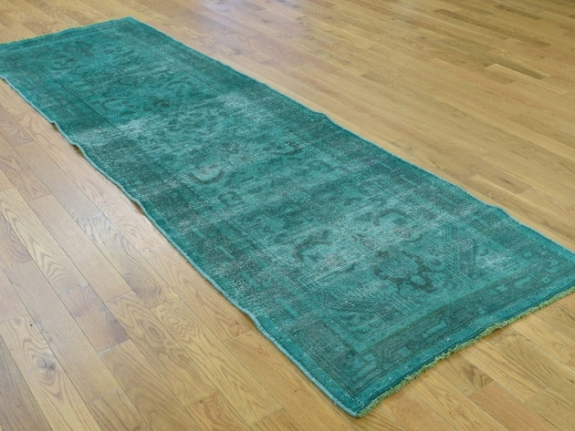 "2'9""x9'4"" Teal Runner Rug Hand-Knotted Overdyed Tabriz Pure Wool Worn Runner picture 63"