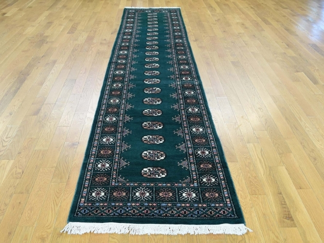 2'x12' Teal Runner Rug Mori Bokara Hand-Knotted Oriental Tsh32515 Pictures 09