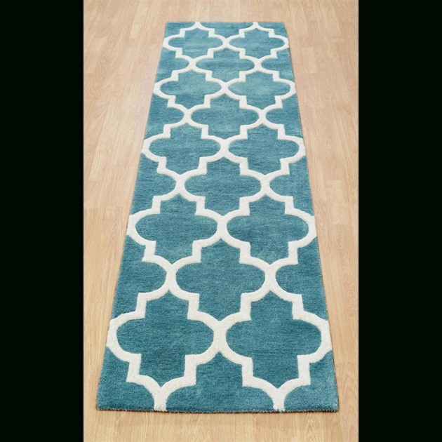 Arabesque Hand Tufted Wool Rteal Runner Rug In Light Image 00