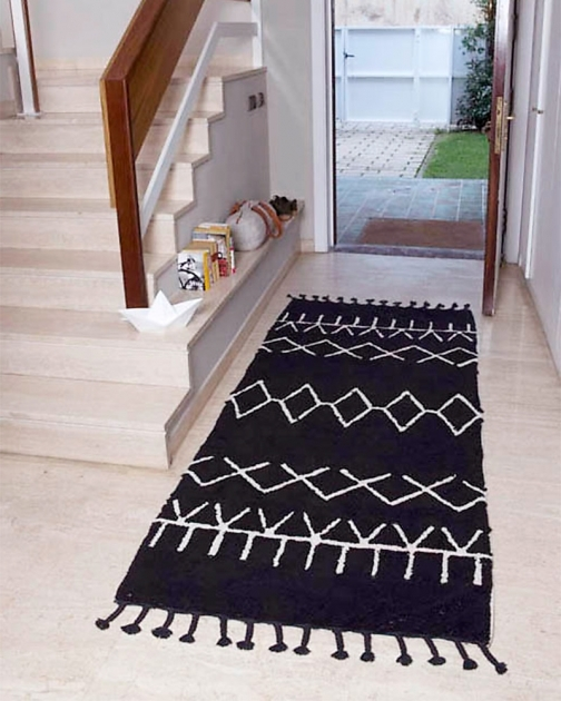 Black And White Washable Runner Rugs Lorena Canals 100% Cotton Carpet Photo 08