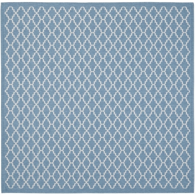Courtyard Trellis Pattern Blue Beige Rug (4' Square) Square Outdoor Rugs picture 55