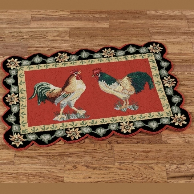 Double Rooster In Chicken Kitchen Rugs With Red And Black Accent Pictures 28