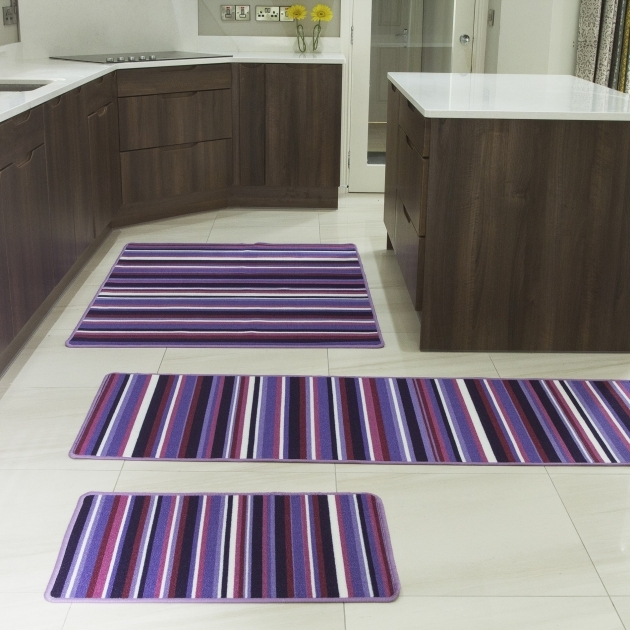 Luna Purple Stripes Simple Washable Runner Rugs Kitchen Ideas picture 92