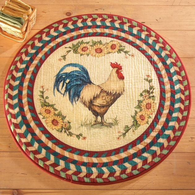 Multicolored Round Rooster Chicken Kitchen Rugs With Decorative Texture Pic 29