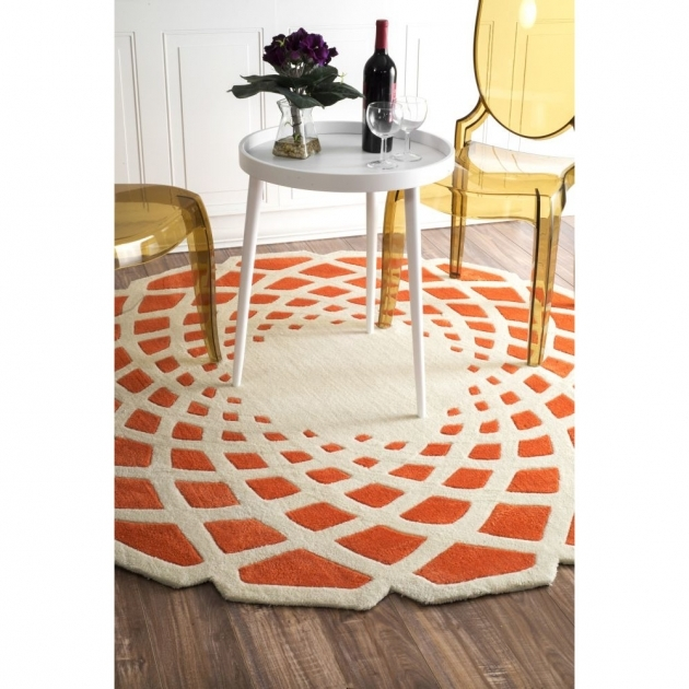 Nuloom Cine Crystal Area Round Orange Kitchen Rugs Pic 01