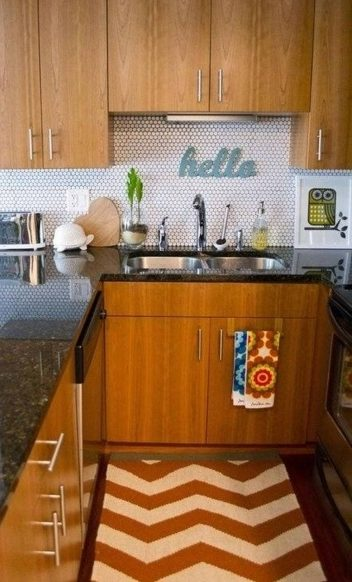 Orange And Brown Kitchen Rugs With Wooden Wall Cabinets Pictures 58