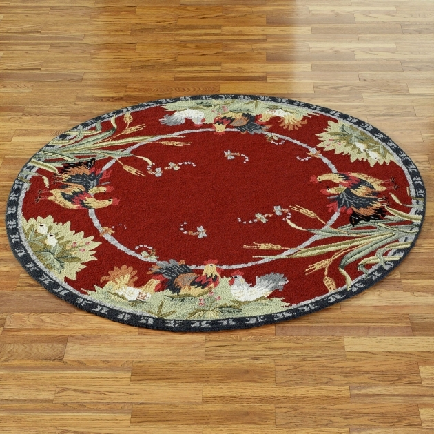 Round Rooster Kitchen Rugs Red Pic 18