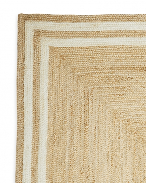 Square Jute Rug Border Natural Bleached Images 98