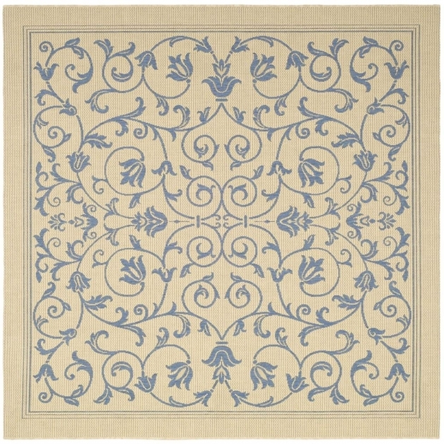 Square Outdoor Rugs Natural/ Blue Indoor Outdoor Floral Area Rug 6'7 Photos 33