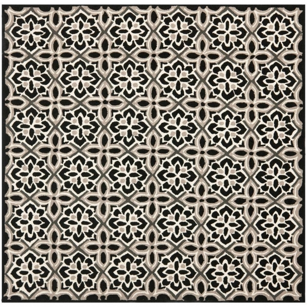 Square Outdoor Rugs Safavieh Four Seasons Black Ivory 6 Ft. X 6 Ft Photos 06