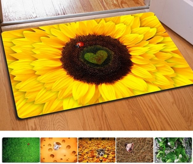 Yellow Kitchen Rugs 40 60Cm Non Slip 3D Printed Doormats Sunflowers Printing Rubber Door Image 86