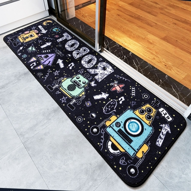 Multi Size Washable Kitchen Rugs Non Skid Black Robot Outer Space Runner Rug Pics 35
